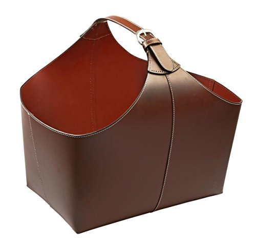 KINDWER Leather Magazine Basket with Strap, Brown