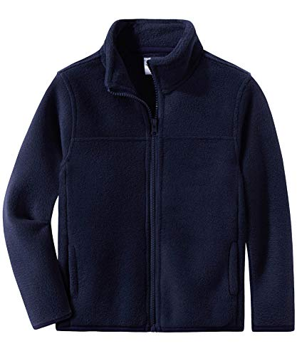 Spring&Gege Youth Solid Full-Zip Polar Fleece Jacket for Boys and Girls Size 3-4 Years Navy Blue (Best Polar Fleece Jacket)