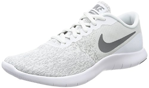 NIKE Womens Flex Contact Running Shoe White/Cool Grey-Metallic Silver