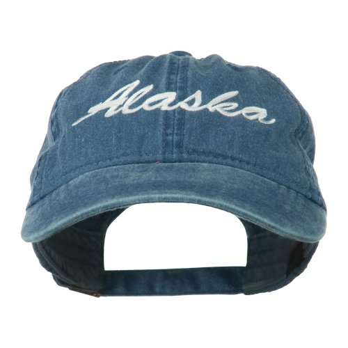 E4hats US State Alaska Embroidered Washed Cap - Navy OSFM