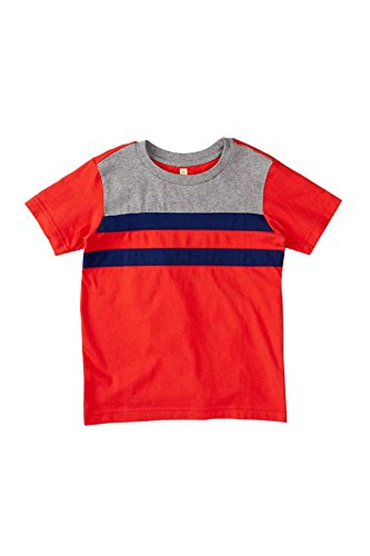 Tea Collection Colorblock Nautical Tee - Red, Blue and Gray (3-6 Months)