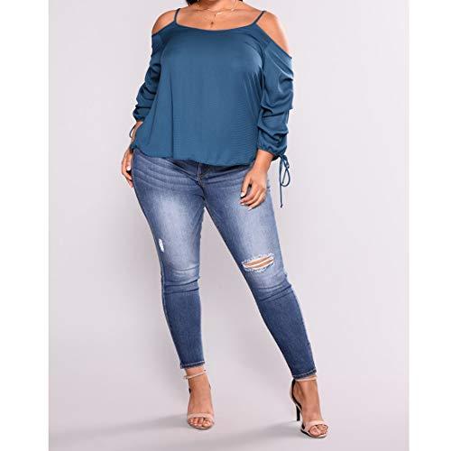 de de Vaqueros Jeans 4XL tamaño 2 Pitillo 2 Style Rasgados Size elásticos Grandes de Medio Pantalones Tallas Color los Pantalones Las Mujeres MALLTY Vaqueros Style Desgastados vE8xqwvd