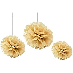 Somnr Pack of 12PCS Mixed Sizes Tan Tissue Paper Flower Pom Poms Pompoms Wedding Birthday Party Nursery Decoration