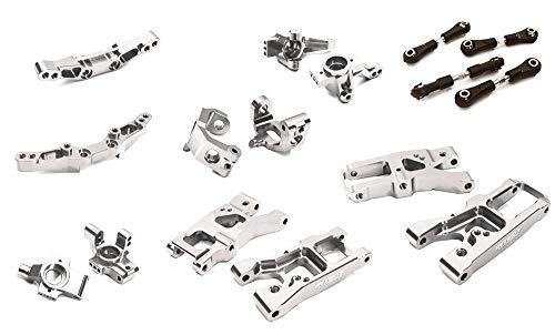 Integy RC Model Hop-ups C28347SILVER Billet Machined Suspension Kit Conversion for Traxxas 1/10 4-Tec 2.0