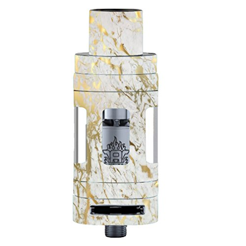 Skin Decal Vinyl Wrap for Smok TFV8 Tank Vape Mod Skins Stickers Cover / Marble White Gold Flake Granite