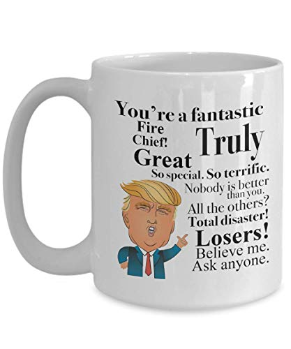 Donald Trump Coffee Mug - 15 Oz Tea Cup Gift Ideas for Fire Chief Birthday Christmas President Conservative Republican (Having A Girlfriend While In The Military)