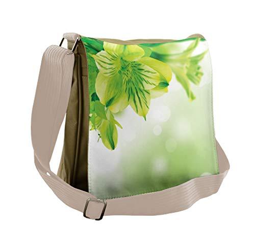Lunarable Green Messenger Bag, Fresh Lily Flower Bloom, Unisex Cross-body -  bei_40295