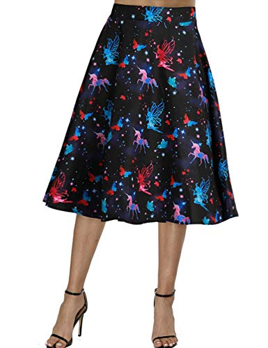 - Fancyqube Women's Vintage Pleated A-line Skirt Retro Floral Avocado Sloth Midi Skirt (S, Black-Unicorn&Fairy)