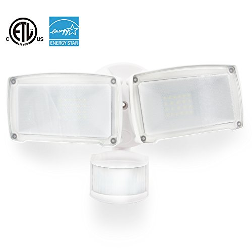 LED Security Light Motion Sensor Floodlight,22W (300W Incandescent Equivalent),Daylight White, IP66 Waterproof, Adjustable Dual Head Infrared Motion Activated Floodlight 1PACK