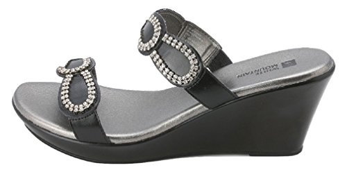 White Mountain - Sandalias de vestir para mujer Black smooth