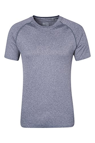 Mountain Warehouse Isocool Agra Mens Striped Tee   Travel T Shirt Dark Grey Large
