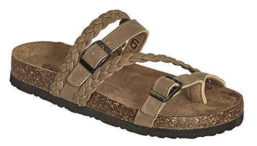 MVE Shoes Women's Stylish Comfortable Open Toe Heel Criss Cross Braided Stappy Sandal, BORK-65 Taupe 8
