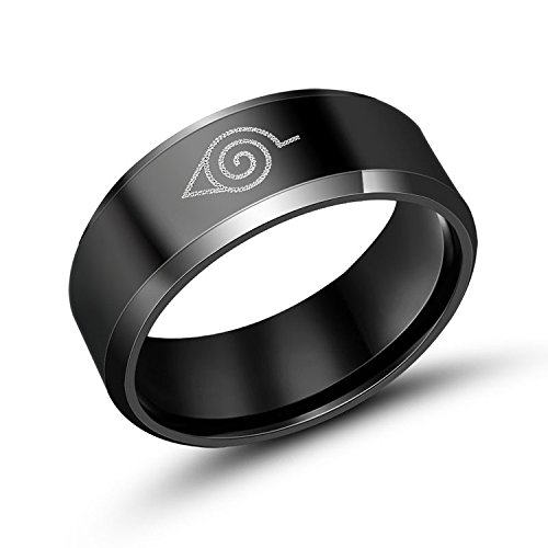 Naruto Merchandise - Naruto Ring Black Stainless Steel for Men Size 9 8mm Wide Jewelry