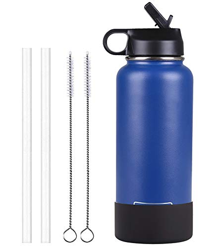 (Sportula Double Wall Vacuum Insulated Stainless Steel Sports Water Bottle, Wide Mouth with 1 Sport Lid, 2 Straws, 2 Cleaning Brushes and 1 Silicone Boot (Cobalt, 40 oz))