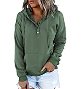 SHEWIN Womens Fashion Hoodies Sweatshirt Long Sleeve Button Drawstring Pullover Tops with Pockets