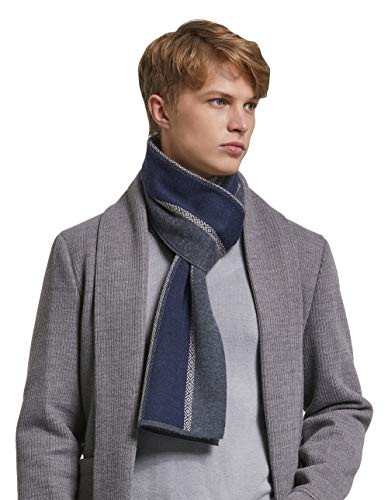 (RIONA Men's Winter Cashmere Feel Australian Merino Wool Soft Warm Knitted Scarf with Gift Box (Grey))