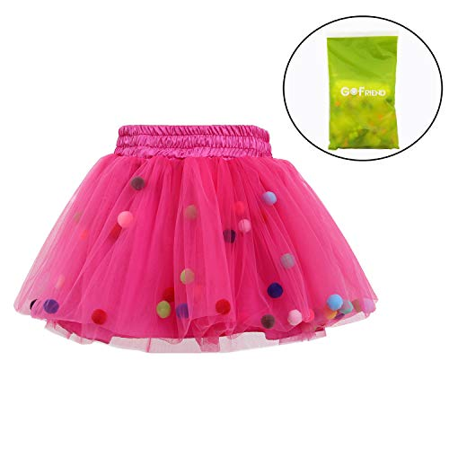 (Tutu Skirt GoFriend Baby Girls Tulle Princess Dress 4-layer Fluffy Ballet Skirt with Little Pom Pom Puff Ball (M, Rose Red))
