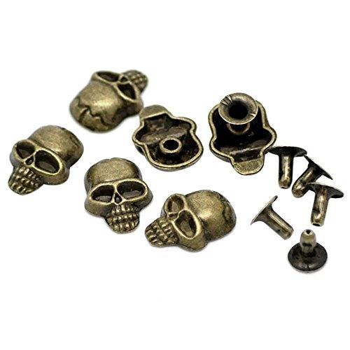 TOOGOO(R) 50 Sets Bronze Tone Skull Spike Rivet Studs Spots 16x12mm(5/8x4/8inch), (16 Escutcheon Pin)