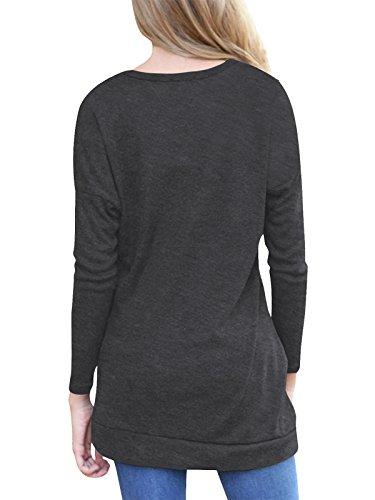 Algodón Camiseta De Blusas Mujer Túnicas Manga Negro Larga waO8xqY