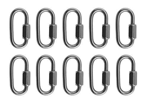 "10 Pieces Stainless Steel 316 Quick Link 3/16"" (5mm) Marine Grade"