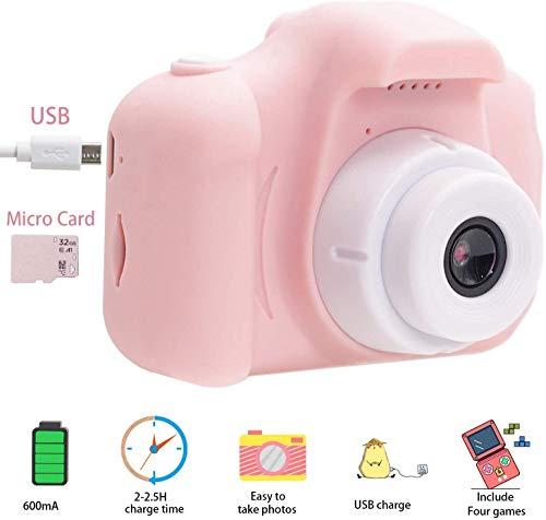 Kids Camera, Kids Digital Camera for Girls Toddlers, Pink Kids Camera with 32GB SD Card, HD Digital Kids Camera, Camera for Kids for Age 3 4 5 6 7 8 9 10 Years Old Girls
