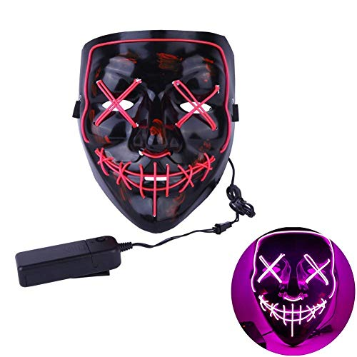 Leezo Frightening Wired Halloween Mask Cosplay LED Light up Mask for Festival Party Costumes Black -