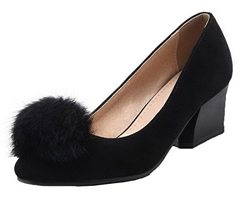 Odomolor AmagooTer Women's PU Round-Toe Kitten-Heels Solid Pull-On Pumps-Shoes Black d2QH7ylvh