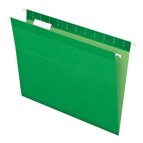 (Pendaflex Reinforced Hanging File Folders, Letter Size, Bright Green, 1/5 Cut, 25/BX (4152 1/5 BGR))