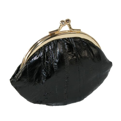 Small Eel Skin Coin Purse (Black)