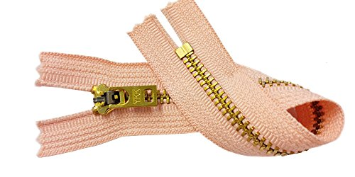 Two 7 Inch Brass Jeans Zipper YKK Number 5 Gold Colored Metal Teeth Zips with Locking Slider Closed Bottom Color Peach #521 ()