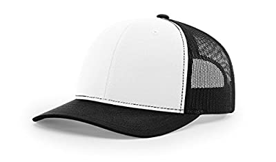 Richardson White/Black 112 Mesh Back Trucker Cap Snapback Hat w/THP No Sweat Headliner