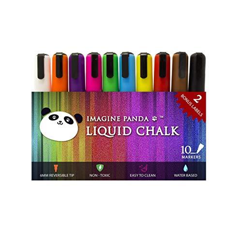Imagine Panda Liquid Chalk Markers, Pack of 10 Artist Quality Color Markers. Bonus: 2 Free Large Labels. Proud Sponsor of Project Life Hacks Art ()