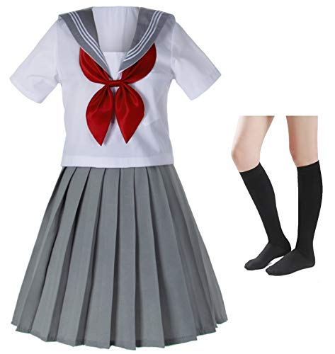 Japanese School Girls Sailor JK Uniform Gray
