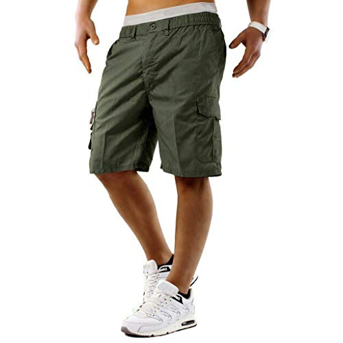 - Allywit Mens Premium Cargo Shorts with Belt Outdoor Twill Cotton Loose Fit Multi Pocket Pants Plus Size Army Green