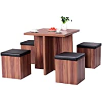 Giantex 5 Pcs Wood Dining Table Set Kitchen Dinette Table...