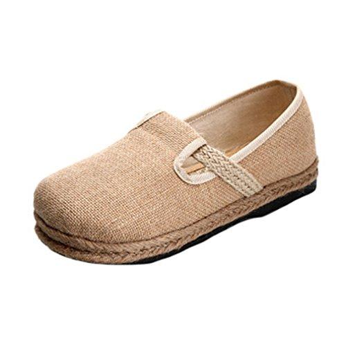 Giy Dames Retro Loafers Plat Mocassin Slip-on Ronde Neus Linnen Band Casual Loafers Jurk Sandalen Schoenen Beige