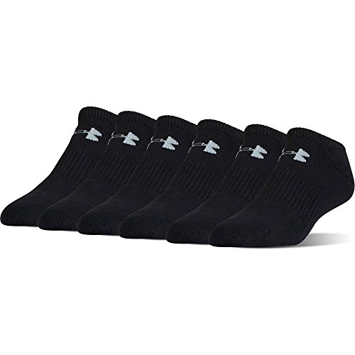 Under Armour Youth Charged Cotton 2.0 No Show (6 Pack), Youth Large, Black/Stealth Grey