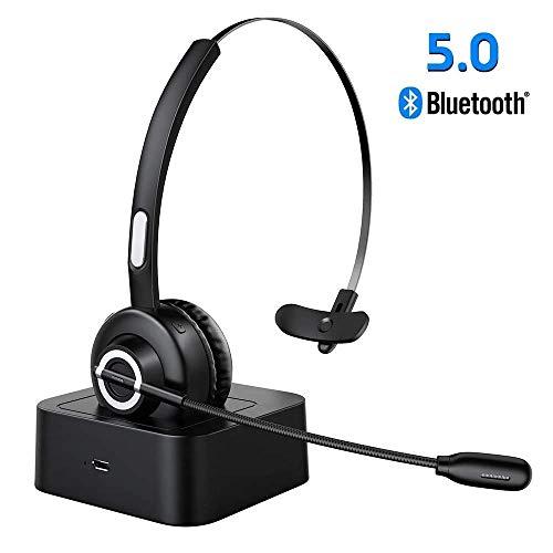 ESOLOM Auriculares Bluetooth V5.0 con Microfono, Auriculares Inalambricos con Base de Carga, Auriculares Profesionales Para PC con Reduccion de Ruido, Manos Libres, Servicio Telefonico, Oficina
