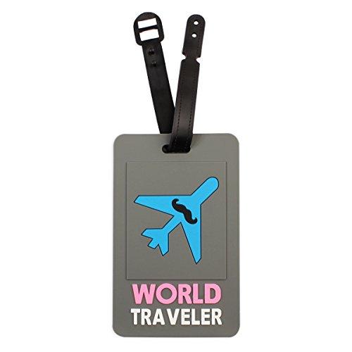 Riah Fashion Women's Bag Tag Travel ID Labels - Cute Luggage Tags (World Traveler) (Traveler Luggage Tag World)