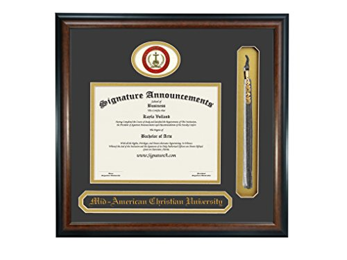 Signature Announcements Mid-America Christian University (MACU) Undergraduate and Graduate/Professional/Doctor Graduation Diploma Frame with Sculpted Foil Seal, Name & Tassel (Matte Mahogany, 16 x 16) by Signature Announcements