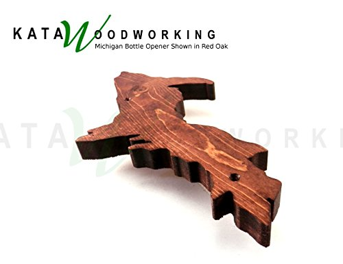 Michigan Upper & Lower Peninsula Shaped Wood Cut-out Bottle Opener - Wall Mount - Handmade by Kata Woodworking (Image #2)