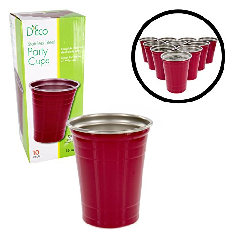 (Stainless Steel Party Cups- Unbreakable Solo Cups 16 oz (10 pack) by D'eco - Dishwasher)