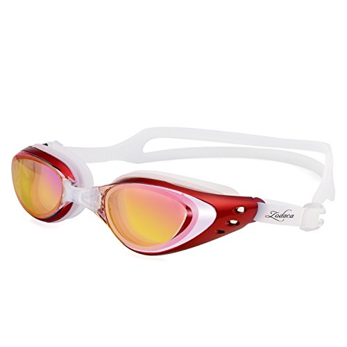 Zodaca Swim Goggle Anti-Fog No Leaking Swimming Mask with Free Protection Case, Ear Plugs, Nose Bridges For Adult Men Women Youth, Red/White
