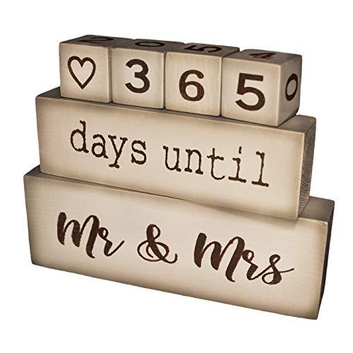 A Vivid Life Wedding Day Countdown Calendar - 6 Piece Premium Pine Wood Blocks - Rustic and Decorative - Engagement, Bridal Shower, Wedding Gift