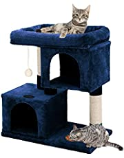 YOHOZ 33in Heavy Duty Luxury Cat Tree and Tower with Feeder Bowl, Spacious Perch, Sisal Wrapped Scratching Posts and Dual Condos Activity Centre Cat Activity Tree Furniture w/Sisal Ball   Fixing Strap