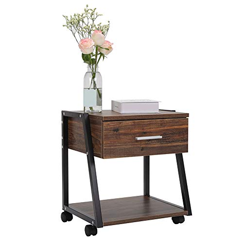 Cocoarm Vintage Nightstand, 2 Tier End Table with Storage Shelf Drawer, Sturdy Metal Frame Side Table with 4 Rolling Locking Wheels for Living Room Bedroom, Wood Storage Table Cabinet Set