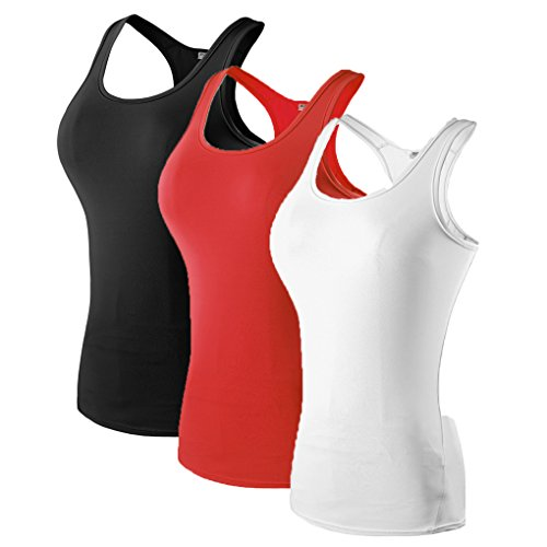 Girl's 3 Pack Compression Base Layer Dry Fit Tank Top Black,Red,White S