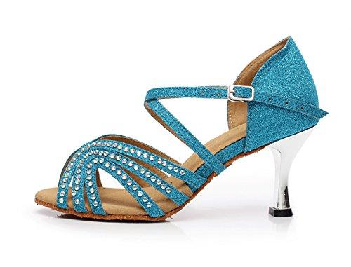 Sparking Modern Samba JSHOE Salsa Altos Baile Cristales Sandalias Tango Blue Zapato De Satin EU41 UK7 Tacones heeled7 Shoes Jazz Our42 5cm Latin Para Mujer Chacha qqwOxr7f4t