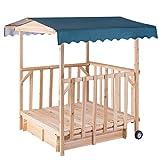 EnjoyShop Outdoor Children Retractable Beach Cabana Sandbox with Canopy Suitable for 1 or 2 Children