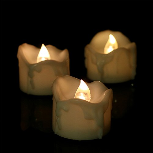 LifeGenius 24 PCS 6 hrs Timer Flickering Small Flameless Votive Candles Warm White Drop Tear Unscented Flashing Long Lasting Tea Lights For Wedding Party Holiday Decoration